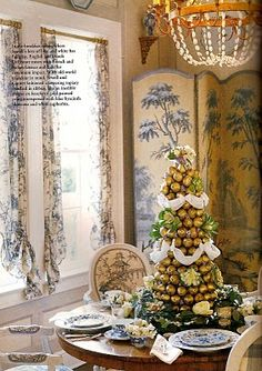 Golden pears, and Hyacinth topiary in a breakfast room, designer Peggy Sewell, photography by Tria Giovan, courtesy of Southern Accents