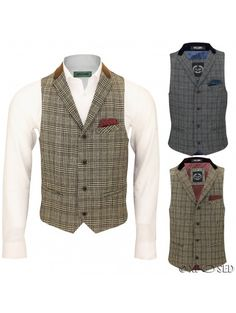 """Mens Vintage Waistcoat Herringbone Tweed Check Velvet Collar Retro Formal Vest   """"New Waistcoat Collection by XPOSED of London features front button closure with slim notch collars with suede trims, 2 front welt pockets and one pocket square chest pocket. Contrasting 2 tone full lining inside with 2 straps on sides for adjusting the fit of waistcoat from regular fit to slim fit. An ideal finishing touch to a white shirt and pressed trousers this season."""""""