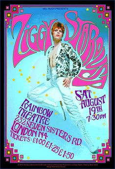 David Bowie as Ziggy Stardust 1972 London concert Print by Bob Masse David Bowie Poster, David Bowie Art, David Bowie Ziggy, David Bowie Covers, Rock Posters, Band Posters, Concert Posters, Music Posters, Gig Poster