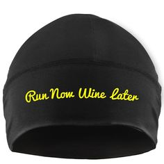 Gone For a Run Run Technology Beanie Performance Hat - Run Now Wine Later Made by #Gone For a RUN Color #Yellow. Performance Microfiber is designed for all day comfort. Moisture wicking and fast drying for frequent use. Keeps you dry and comfortable in both warm and cold weather. Hat is one size fits all - Beanie is great for working out!. Official Gone For a Run Brand Product - Passionate about sports and the products we make