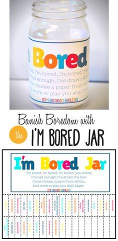 The I'm Bored Jar free printable! Find some creative boredom buster ideas and mo. - The I'm Bored Jar free printable! Find some creative boredom buster ideas and motivation for your - Bored Jar, Bored Kids, Im Bored, Kids And Parenting, Parenting Hacks, Projects For Kids, Crafts For Kids, Summer Boredom, Things To Do When Bored