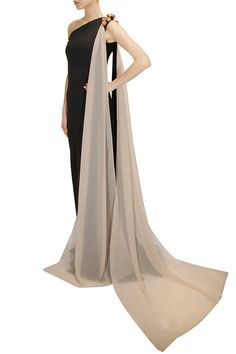 Black metal flowers embellished draped gown available only at Pernia's Pop-Up Shop.