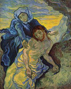 """""""La Piedad"""" (inspirada en la de Eugène Delacroix) - Pietá (1889) (Post Impresionismo). Actualmente:  Van Gogh Museum, Amsterdam // CHECK"""