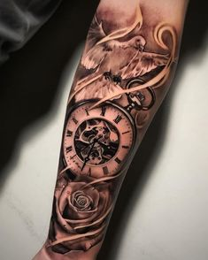 Tatouage Montre Gousset avec une colombe et une rose sur avant bras Pocket watch tattoo with a dove and a rose on the forearm Tags:… Forarm Tattoos, Forearm Sleeve Tattoos, Best Sleeve Tattoos, Best Forearm Tattoos, Clock Tattoos, Face Tattoos, Unique Half Sleeve Tattoos, Half Sleeve Tattoos Designs, Tattoo Designs Men