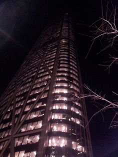 Day 18 - The tallest building outside of Toronto in Canada, The Bow. Can't even see the top at night
