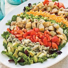 Potato Cobb Salad - Side Dishes and Salads for Entertaining - Southernliving. Recipe: Potato Cobb Salad  Instead of being tossed together in a bowl, the colorful ingredients for Potato Cobb Salad are arranged on a plate. To save time, the potatoes can be cooked overnight so they are ready to assemble just before serving.