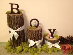 Woodland Baby Shower Theme Ideas (Decorations, Games, & More) Cute and rustic woodland baby shower ideas! Could spell out his nameCute and rustic woodland baby shower ideas! Could spell out his name Woodsy Baby Showers, Deco Baby Shower, Baby Shower Camo, Forest Baby Showers, Shower Bebe, Baby Shower Themes, Animal Theme Baby Shower, Woodlands Baby Shower Theme, Camo Baby