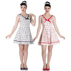 Hell Bunny Alizea Nautical Mini Dress Navy Red & Cream