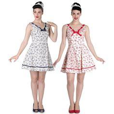 Hell Bunny Alizea Nautical Mini Dress Navy Red & Cream
