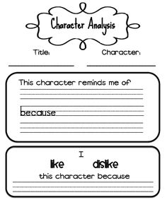 Sarah's First Grade Snippets: Character analysis