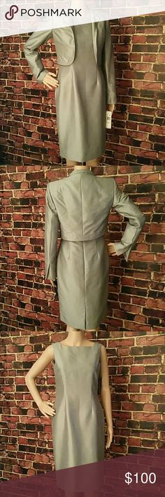 Dress Sale! All Dresses 20% Off Anne Klein Two Piece Suit. Color: Grey. Jacket: 52% polyester, 48% polyamide, Lining: 100% polyester. Dress: 52% polyester, 48% polyamide, Lining: 100% polyester. Flat Measurements except for the waist. Jacket: Shoulder Measurements: 14 inches, Length: 16.5 inches. Dress: Waist: 30 inches, Length: 37 inches, Sleeve Length: 30 inches. **Free Shipping: Not available for this item.** Anne Klein Dresses