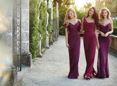 Merlot luminescent chiffon A-line bridesmaid gown, draped V-neckline, off the shoulder flouncy sleeves Bridesmaids Dresses: Junior, Maternity & Flower Girl Dresses by Jim Hjelm Occasions - Bridesmaids and Special Occasion Style jh5527 by JLM Couture, Inc.