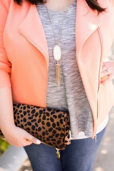 Head to Toe Chic: Coral jacket, gray tee, Kendra Scott necklace, leopard Clare V clutch