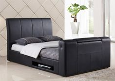 King size beds with integrated TV