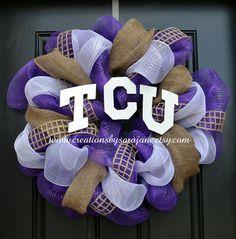 Mesh TCU Wreath - Texas Christian University Wreath on Etsy, $80.00
