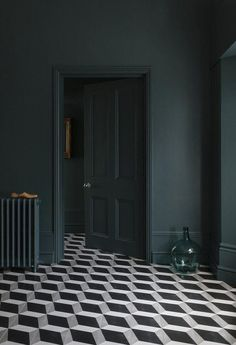 Ad // Do you have floor tiles in your home? I get so tempted when I see geometric tiles like these from - aren't they fabulous? I couldn't resist. Dark Green Walls, Dark Walls, Dark Painted Walls, Dark Blue Bedroom Walls, Dark Green Living Room, White Walls, Decor Interior Design, Interior Decorating, Decorating Tips