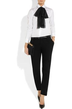 CLASSY DRESS PANTS & WHITE BUTTON DOWN_ MAKE OR BUYSaint Laurent|Silk-mousseline bow-tie|NET-A-PORTER.COM