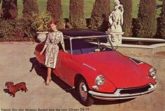 Citroen DS-19 with French film star  Mijanou Bardot and her dachshund.