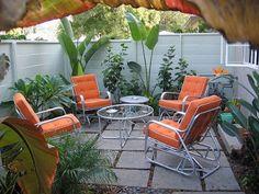 outdoor seating in orange