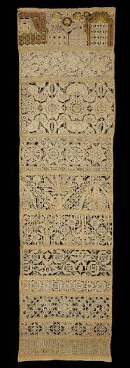 Band sampler    English  mid-17th century    65 x 18.1 cm (25 9/16 x 7 1/8 in.)  Linen plain weave embroidered with linen, silk, and metallic thread.  Natural plain-weave linen ground embroidered band sampler. Needle lace floral bands with drawnwork band at bottom, needle lace scene of Judith and Holofernes at top accented with polychrome silk.