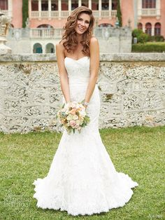 allure bridals wedding dresses fall 2013 strapless mermaid lace gown style 2651