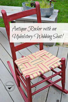 Antique Rocker With An Upholstery Webbing Seat Www.homeroad.net