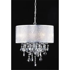 Midtown Round Chrome and White Drum Crystal Chandelier