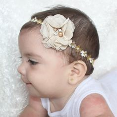 Baptism Flower Headband, Coming Home Outfit, Girls Headband Flower, Tan Flower Headband, Flower Headpiece, Gold Headband, Flower Head band