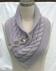 Neck Warmer Scarf Gray Hand Knit Cables Buttons Women Ladies Teens ...