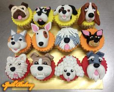 44 Ideas For Cupcakes Decoration Animals How To Make Fondant Cupcakes, Fondant Dog, Puppy Cupcakes, Puppy Cake, Fondant Animals, Fondant Toppers, Cupcake Cookies, Farm Animal Cupcakes, Cake Decorating Tips
