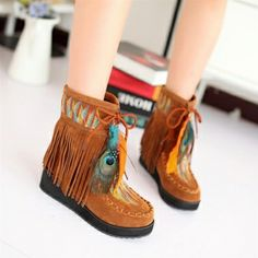 Special Feather Decorated Tassel Anti-Slip Ankle Boots on DressLuck.com