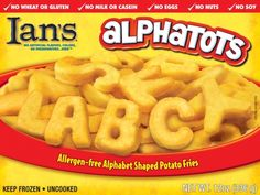 Ian's Alphatots are made with top-quality potatoes, shaped into letters of the alphabet.  They're fun, tasty, and free from wheat, gluten, milk, casein, eggs, nuts and soy.  Add them to your plate to spell out your name, your favorite food, or just Y-U-M!