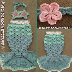 Mermaid Crochet Pattern....ideas for colors, but the tail needs some tweaking as does the bralet (possibly shells instead).