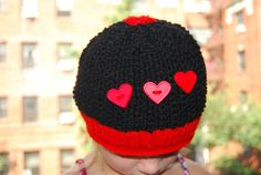 Hand Made Black & Red Hat for Girls Size 35 by TheCraftyEuropean, $28.00