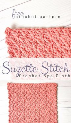 Suzette Stitch Spa Washcloth Crochet Pattern The Suzette Stitch is such a gorgeous and easy crochet texture stitch. It makes a beautiful crochet dishcloth or spa washcloth crochet pattern! Washcloth Crochet, Crochet Dishcloths, Tunisian Crochet, Crochet Squares, Crochet Blankets, Crochet Stitches For Beginners, Crochet Stitches Patterns, Wash Cloth Crochet Pattern, Cloth Patterns