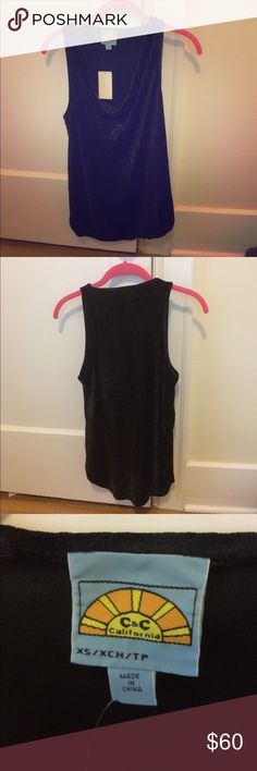 NWT RARE C&C California Velour Tank XS Super cute black tank in super soft velvet fabric. Brand new with tags, never worn in perfect condition. Dress it up for work or pair it with jeans and heels for a night out! Bundle and save! Make me an offer! C&C California Tops Tank Tops