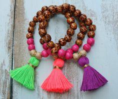 Beaded Tassel Bracelet, Leopard Wooden Bead Bracelet, Layering Stack Stretch Bracelet, Boho Hippie Tassel Jewelry