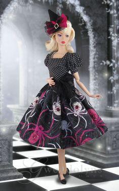 WICKED WEB Fashion for Poppy Parker and similar sized dolls image 0 Barbie Halloween, Halloween Fashion, Halloween Outfits, Holiday Outfits, Holiday Clothes, Felt Witch Hat, Barbie Wedding Dress, Dawn Dolls, Witch Outfit