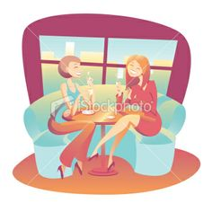 Two young women drinking coffee and tea having a chat Royalty Free Stock Vector Art Illustration