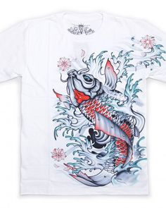 1fafdf18351 Chinese style Koi t shirt white carp fishing short sleeve tee for men  Fishing Shorts