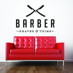 Vinyl Wall Decal Sticker Bedroom Barber shop COMPANY NAME hair scissors r1519 CreativeWallDecals http://www.amazon.com/dp/B00U8QD8X2/ref=cm_sw_r_pi_dp_HwLavb08ZVMT7