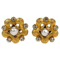 Check out this item at One Kings Lane! Chanel Pearl & Crystal Earrings
