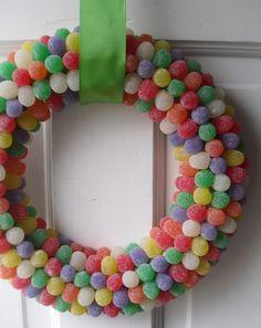 Rainbow Gumdrop Wreath from just pretty Etsy shop.  http://www.etsy.com/listing/61857288/rainbow-gumdrop-wreath?utm_source=CraftCult&utm_medium=api&utm_campaign=api&ref=craftcult