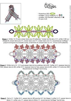 Mu - FREE Pattern for Bracelet OCTOPUS. Page 1 of 2. Use: SuperDuo beads, two colors of 11/0 seed beads and 15/0 seed beads (to attach clasp).