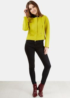 Lime Zip Pocket Wool Cropped Jacket - New In