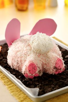 Make Easter extra adorable this year with this funny bunny who's digging around the dirt raiding for carrots. It's easier to make than it looks, too! Sprinkle some chocolate cookie crumbs on the feet to make it look like the bunny was digging.