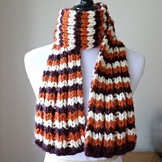 Chunky Knit Scarf Virginia Tech Scarf Fall Knit by anneliseknits