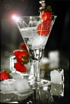 Vodka Martini with strawberry garnish