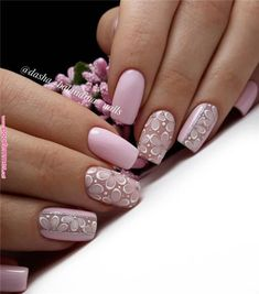 Nail art is a very popular trend these days and every woman you meet seems to have beautiful nails. It used to be that women would just go get a manicure or pedicure to get their nails trimmed and shaped with just a few coats of plain nail polish. Pink Nail Designs, Nail Designs Spring, Elegant Nail Designs, Spring Nail Art, Spring Nails, Matte Nails, My Nails, Matte Pink, Silver Nails