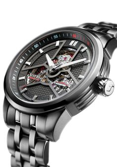 The Fiyta Roadster Metal Automatic Skeleton Black watch is made from black PVD plated steel with sapphire crystal glass as well as exhibition case back; powered by a FIYTA made automatic movement. Modern Watches, Casual Watches, Luxury Watches, Cool Watches, Watches For Men, Black Watches, Unique Watches, Men's Watches, Men's Accessories